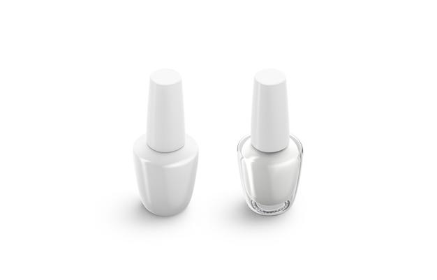 Lege witte en transparante nagellakfles, geïsoleerd, 3d-rendering. lege glazen container met gelmateriaal, zijaanzicht. heldere nagellak flacon met dop