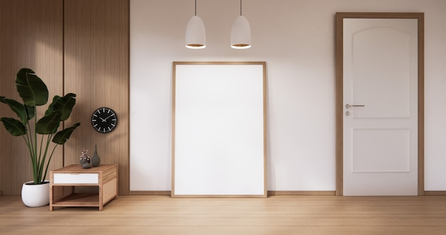 Lege witte houten muur op houten vloer interieur