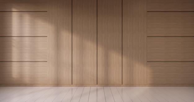 Lege witte houten muur op wit vloer interieur