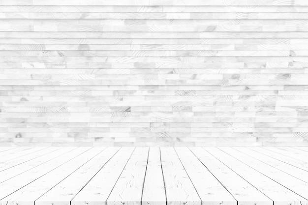 Lege witte houten tafel