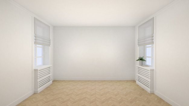 Lege witte kamer interieur moderne stijl met ramen en houten vloer. Premium Foto