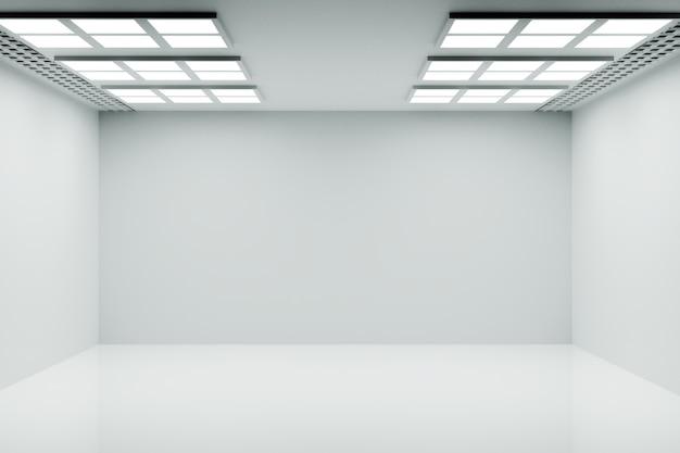 Lege witte kamer met helder licht, weergave van 3d-illustraties