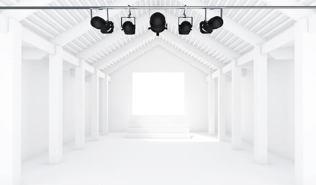 Lege witte kamer met schijnwerpers - 3d perspectief