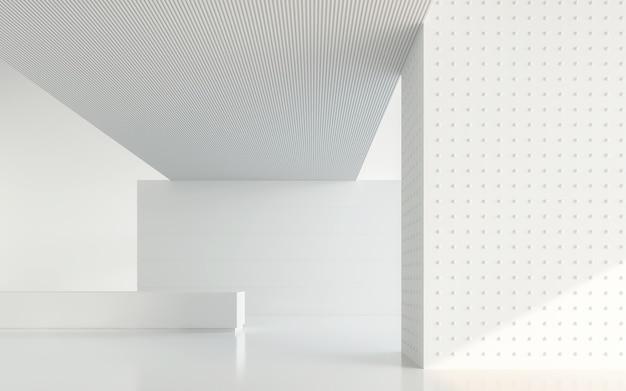 Lege witte kamer moderne ruimte 3d render een lege muur met puur wit versier met geometrie-object
