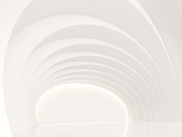 Lege witte kamer moderne ruimte 3d render kromme muur met puur wit versier de muur met verborgen licht