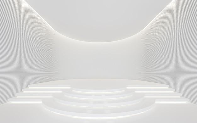Lege witte kamer moderne ruimte 3d render versier muur met horizonlijnpatroon en verborgen licht