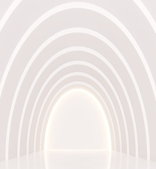 Lege witte kamer moderne ruimte interieur 3d render een kromme muur versier de muur met verborgen licht