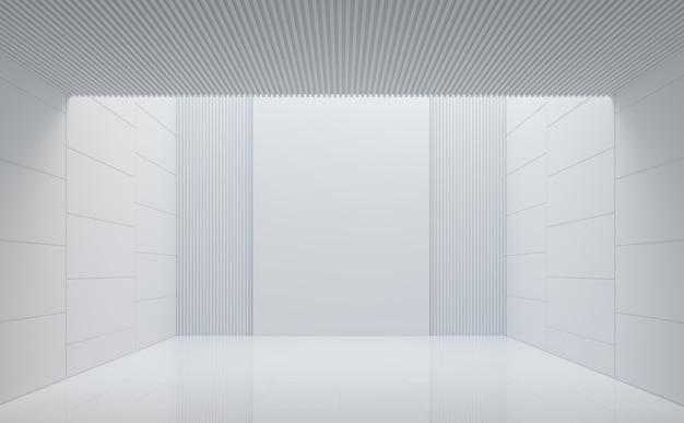 Lege witte kamer moderne ruimte interieur 3d render natuurlijk licht naar beneden gestuurd van bovenaf