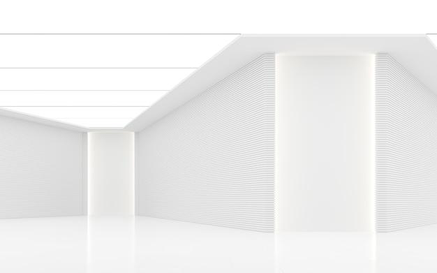 Lege witte kamer moderne ruimte interieur 3d render versier met horizon lijnpatroon