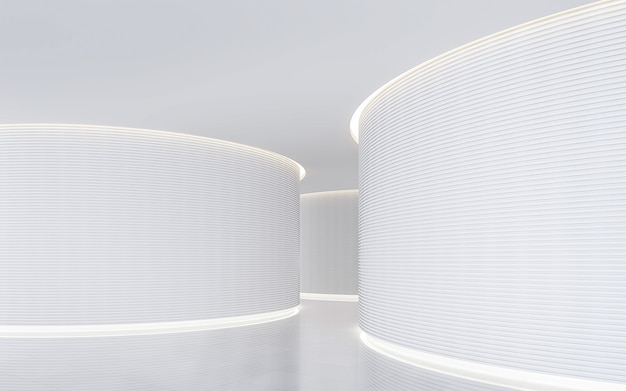 Lege witte kamer moderne ruimte interieur met kromme muur versieren met verborgen warm licht 3d render
