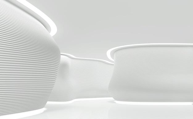 Lege witte kamer moderne vrije vorm ruimte interieur 3d render