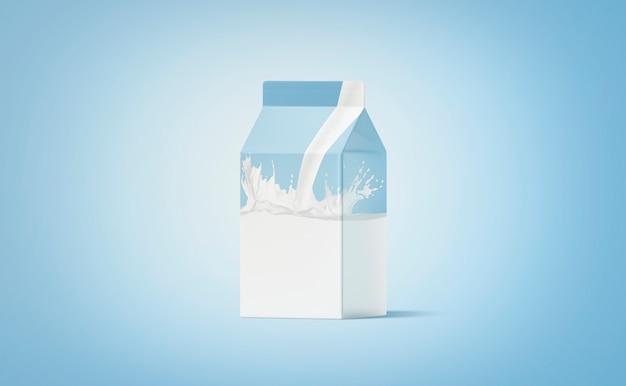 Lege witte kleine kartonnen pak melk splash op blauw