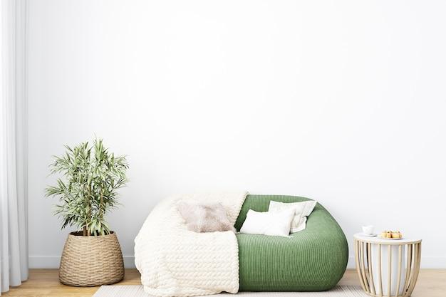 Lege witte muur in woonkamer interieur