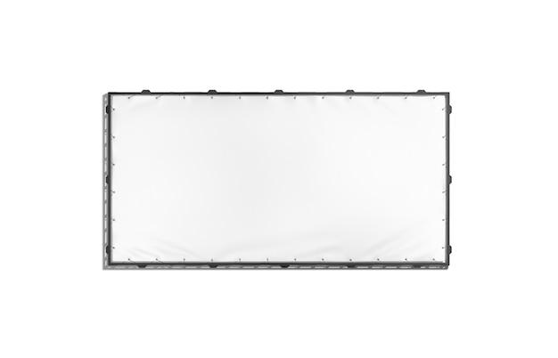 Lege witte rechthoek uitrekkende banner met zwart greepframe, het 3d teruggeven. leeg reclamebord te koop, geïsoleerd, vooraanzicht. helder hangend display voor buiten