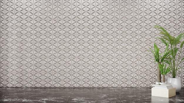 Lege witte tegels muur op marmeren vloer van lege ruimte met planten
