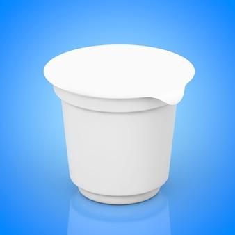 Lege witte verpakkingscontainers voor yoghurt, ijs of dessert op een blauwe achtergrond. 3d-rendering