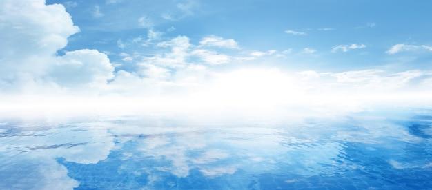Lege witte wolk op blauwe hemel