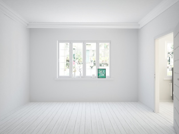 Lege witte woonkamer met houten vloer en widnow