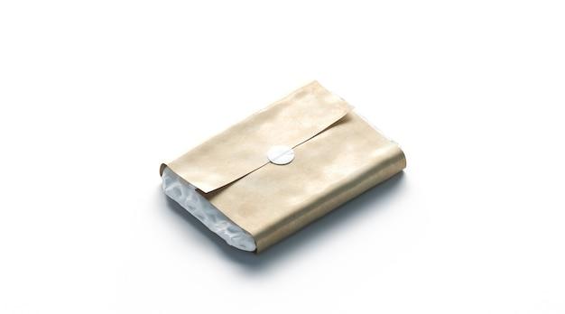 Lege witte zelfklevende sticker op ambachtelijke inpakpapier mockup leeg rond etiket op pacel mock up