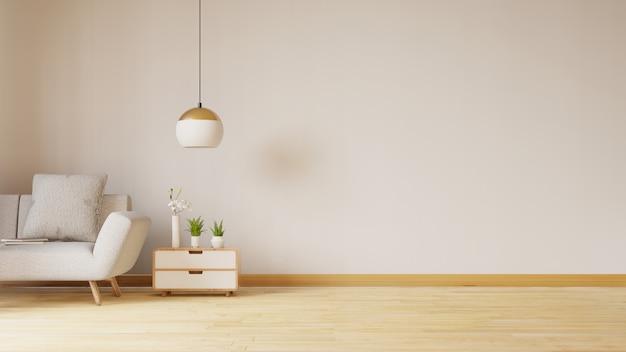 Lege woonkamer met blauwe stoffenbank, lamp en planten. 3d-weergave
