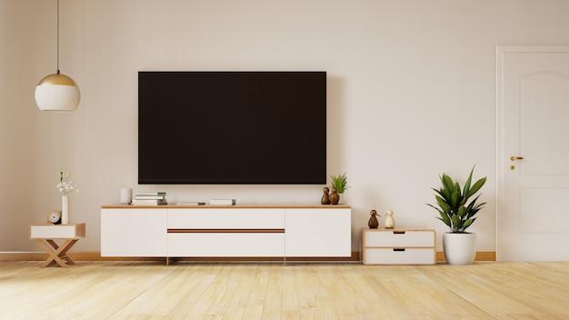 Lege woonkamer met blauwe stoffenbank, lamp en planten op lege witte muur. 3d-weergave