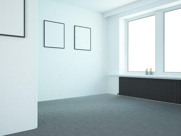Lege woonkamer met groot raam van zwarte kachel en posters