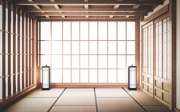 Lege yoga kamer inteior met tatami mat vloer. 3d-rendering