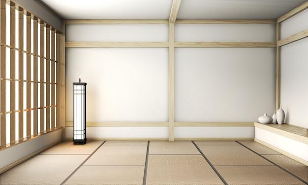 Lege zen kamer zeer japanse stijl met tatami mat vloer en houten muur mix. 3d-weergave