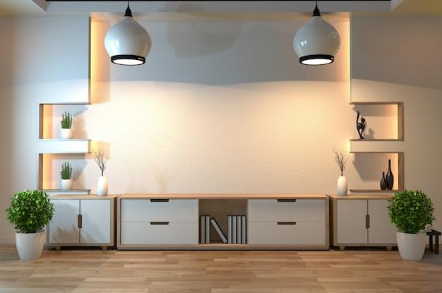 Lege zenruimte binnenlandse achtergrond met verborgen de stijlontwerp van de plankmuur verborgen licht