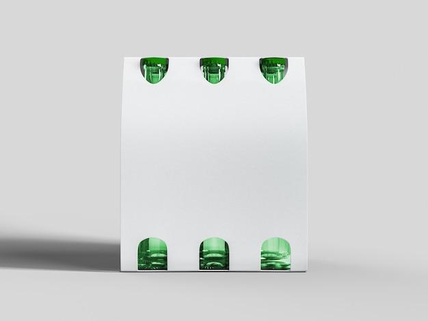 Lege zes bierflessen op doorzichtige papieren verpakkingen voor alcohol dragen mockup. oktoberfest-concept.