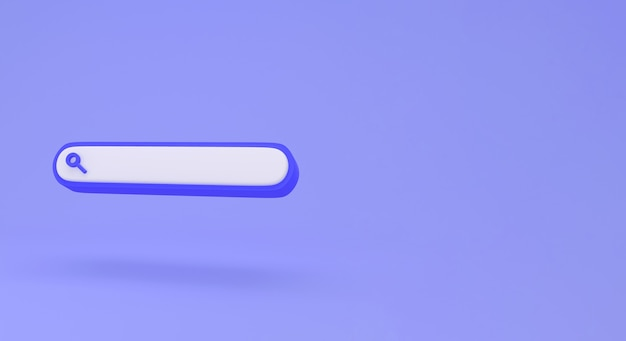 Lege zoekbalk op blauw minimaal concept als achtergrond.