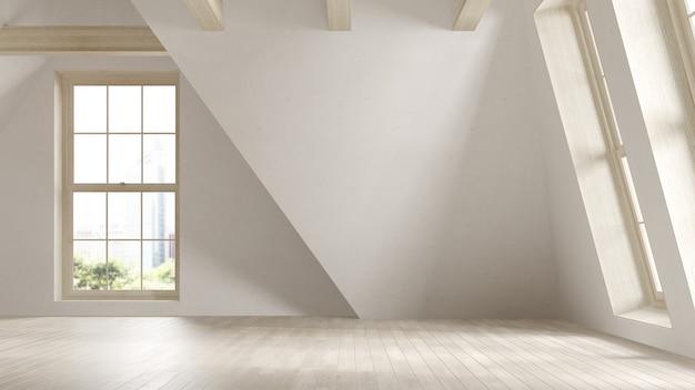 Lege zolder interieur kamer 3 d illustratie