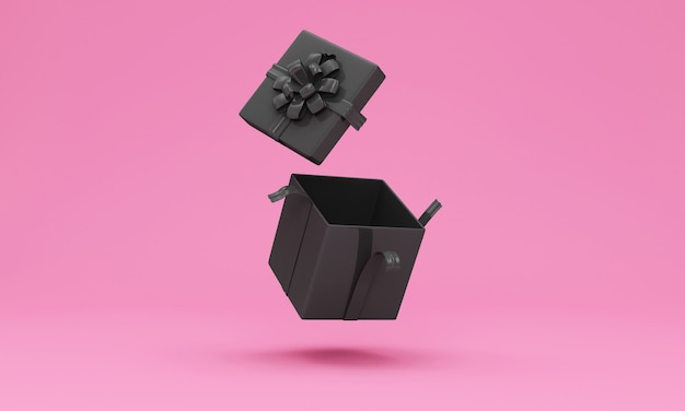 Lege zwarte geschenkdoos op studio achtergrond geopend