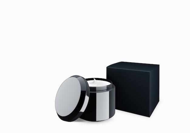 Lege zwarte glanzende cosmetische pot mock up op witte achtergrond met uitstrijkje crème in vooraanzicht hoek, 3d illustratie