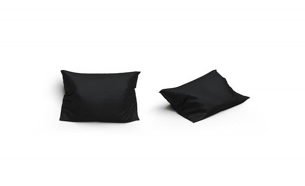 Lege zwarte kussen set, voor- en zijaanzicht, geïsoleerd