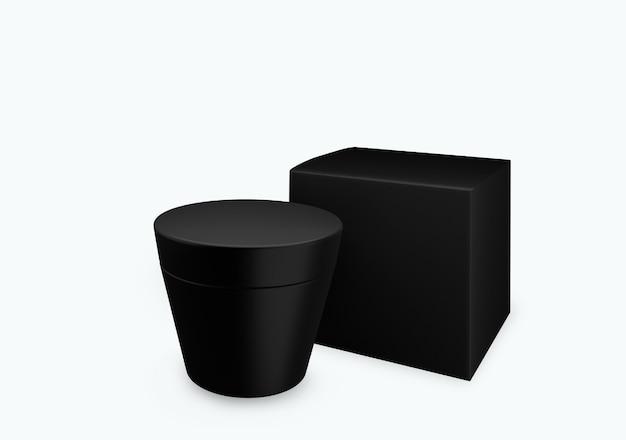 Lege zwarte matte cosmetische pot mock up op witte achtergrond met uitstrijkje crème in vooraanzicht hoek, 3d illustratie