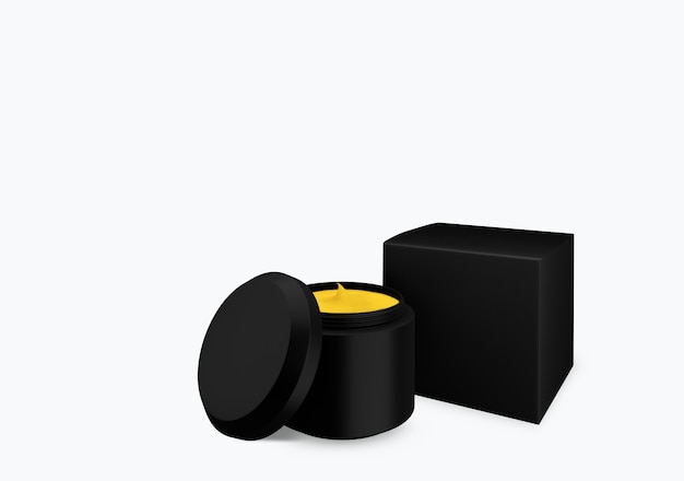 Lege zwarte matte cosmetische pot mock up op witte achtergrond met uitstrijkje crème in vooraanzicht hoek, 3d illustratie Premium Foto