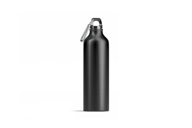 Lege zwarte metalen sportfles mock up