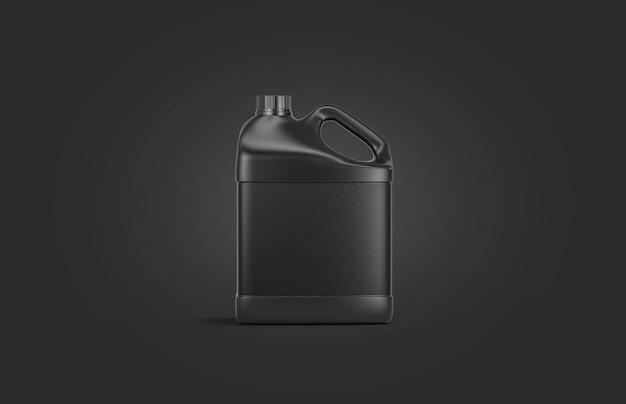 Lege zwarte plastic kruik op zwart