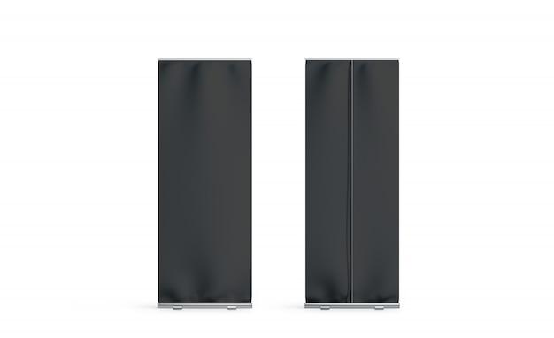 Lege zwarte roll-up banner voor- en achterkant instellen display, geïsoleerd,