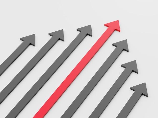 Leiderschap concept. een rode leiderpijl leidt het team naar voren