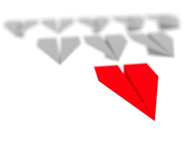 Leiderschap concept. een rood leidersvliegtuig leidt andere grijze vliegtuigen naar voren