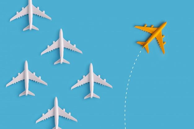 Leiderschap concept van kleurrijke vliegtuig met creativiteit