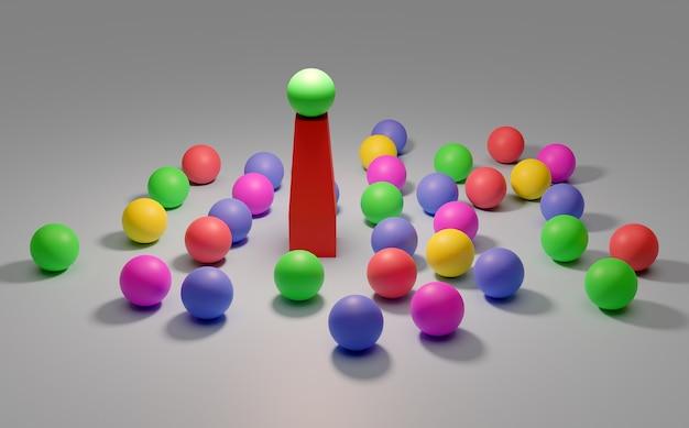 Leiderschap conceptueel beeld van een leider en ondergeschikten zakelijk teamwork kleurrijke ballonnen