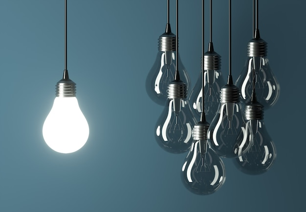 Leiderschap of creatief ideeconcept met bollen