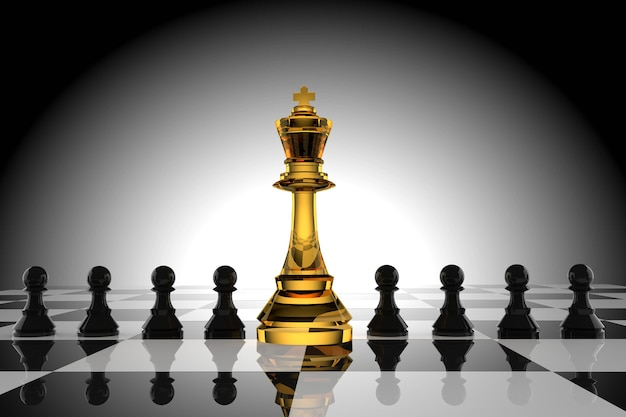 Leiderschap van het schaak van de glaskoning met zwarte pion in het 3d teruggeven