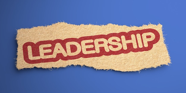Leiderschap woord van ruw papier, omcirkeld in rood. bedrijfsconcept. 3d-weergave.