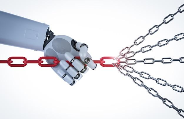 Leiderschapsconcept met 3d-rendering cyborg arm trek stelletje kettingen