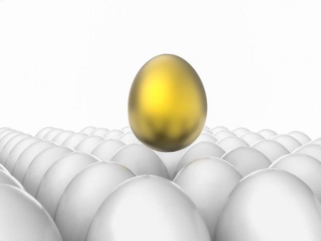 Leiderschapsconcept met gouden ei onder witte eieren
