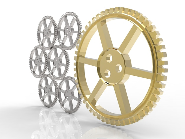 Leiderschapsconcept met gouden versnelling en zilveren versnellingen